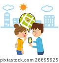 智能手机地图夫妇在街道里 26695925