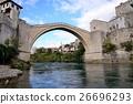 川から見上げるモスタルの橋スタリ・モスト 26696293