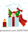 Merry Christmas and Happy new year 2017 Greeting Card with Santa Claus, vector illustration 26697009
