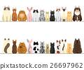 ชุดเส้นขอบของแมวด้านหน้าและด้านหลัง 26697962