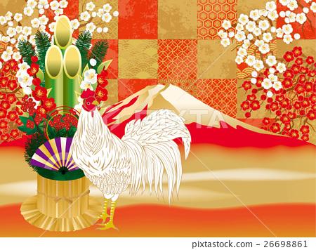 체크 홍백 패턴 매실 닭 26698861