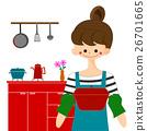 烹調在廚房裡的婦女 26701665