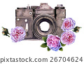 watercolor camera isolated on white background 26704624