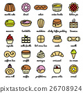 line icon set of world best desserts and sweets 26708924
