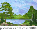 Landscape with Trees and Lake 26709088