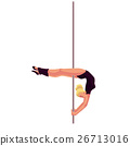 Young pole dance woman in black leotard doing 26713016