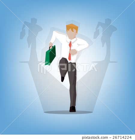 cheerful attractive businessman in a hurry  26714224