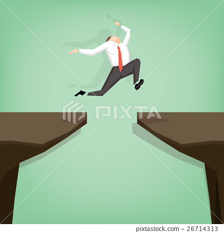 businessman jumping over gap 26714313