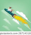 Businessman flying on the rocket 26714318
