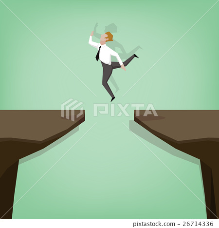 businessman jumping over gap 26714336