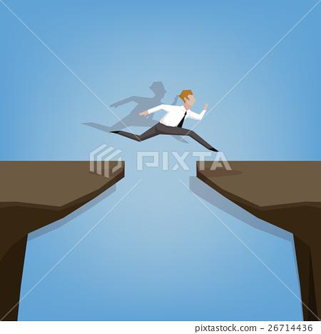 businessman jumping over gap. 26714436