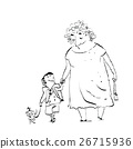 Grandma, grandson and dog on a walk 26715936