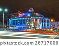 Building of Russian circus at night with colored 26717000