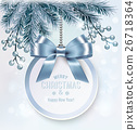 Christmas background with a gift card and branches 26718364