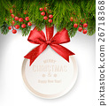 Christmas background with a gift card and branches 26718368
