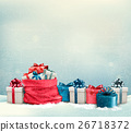 Holiday Christmas background with a sack 26718372