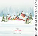 Holiday Christmas background with a village  26718373