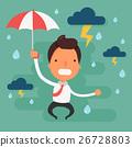 Stressed businessman with black cloud rain  26728803