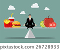 Man balancing between junk food and healthy food 26728933