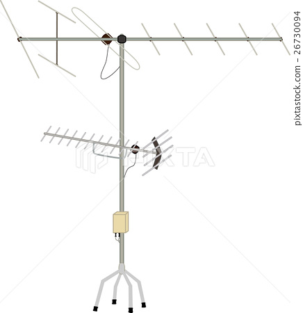 Television antenna on the roof - Stock Illustration