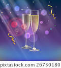 Champagne glasses and streamer with rays of light 26730180