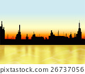 Sunset in the city and sea. Vector 26737056