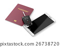 Smartphone, passport and car key 26738720