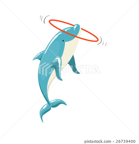 Blue Bottlenose Dolphin Holding Hula-Hoop For 26739400