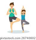 Happy Kid and Mom Doing Yoga 26740602