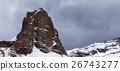 Panoramic view on snow rocks and grey sky 26743277