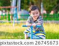 Asian kid riding seesaw board at the playground 26745673