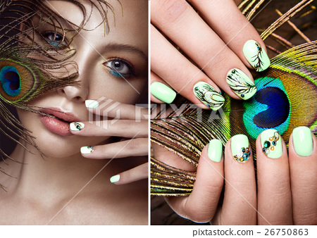 Beautiful girl with bright makeup, manicure design 26750863