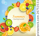 Summer background with tropical fruits. 26753531