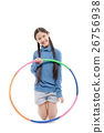 Portrait happy Asian child girl playing hulahoop 26756938