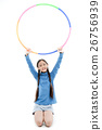 Portrait happy Asian child girl playing hulahoop 26756939