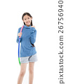 Portrait happy Asian child girl playing hulahoop 26756940