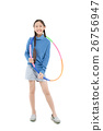 Portrait happy Asian child girl playing hulahoop 26756947