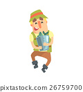 Happy Amateur Fisherman In Khaki Clothes Carrying 26759700