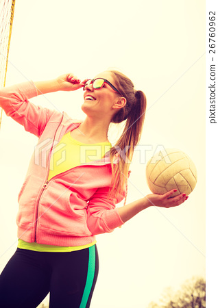 Woman volleyball player outdoor on court 26760962