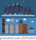 Vector illustration of a flat design with city 26761644