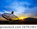 satellite dish and morning light sky 26761962