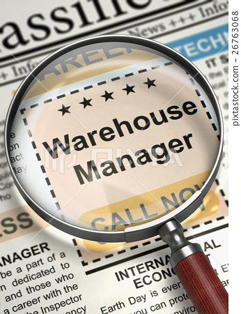 Now Hiring Warehouse Manager. 3D. 26763068