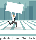 Businessman running across Zebra Crossing 26763632
