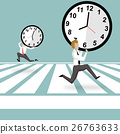 Businessman hold the clock and running 26763633