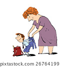 Grandma or the nanny accompanies her grandson to 26764199