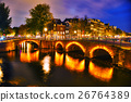 Amsterdam city view with canals and bridges 26764389