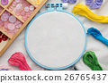 Embroidery hoop with blank fabric, sewing threads  26765437