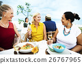 Mature Friends Fine Dining Outdoors Concept 26767965