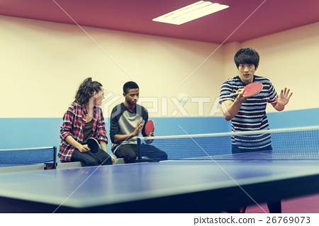 Stock Photo: Table Tennis Ping-Pong Friends Sport Concept