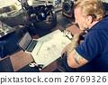 Construction Master Plan Draft Blueprint Male Laptop Concept 26769326